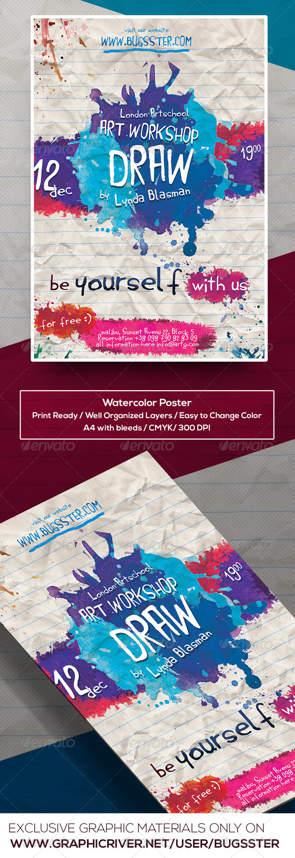 GraphicRiver Watercolor Art Event Poster Flyer Template 8561512