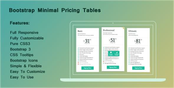 CodeCanyon Bootstrap Minimal Pricing Tables 8562194