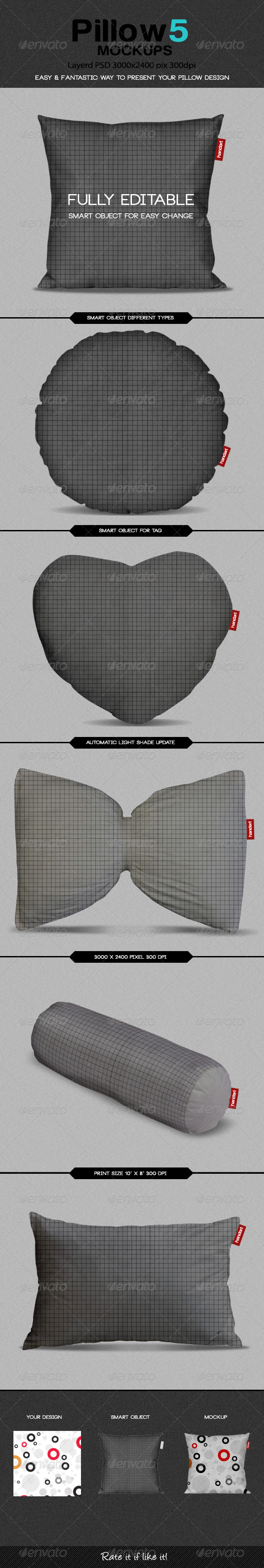 GraphicRiver Pillow5 Mockup 8562443