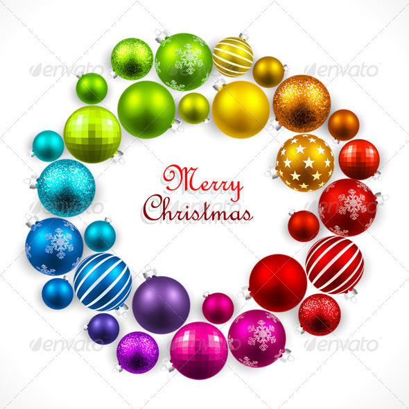 GraphicRiver Christmas Wreath of Colored Balls 8562692