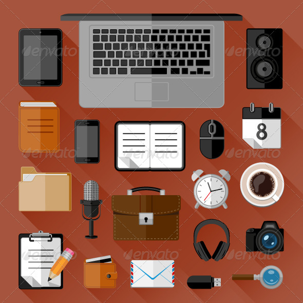 GraphicRiver Concept of Workplace Flat Icons 8562753