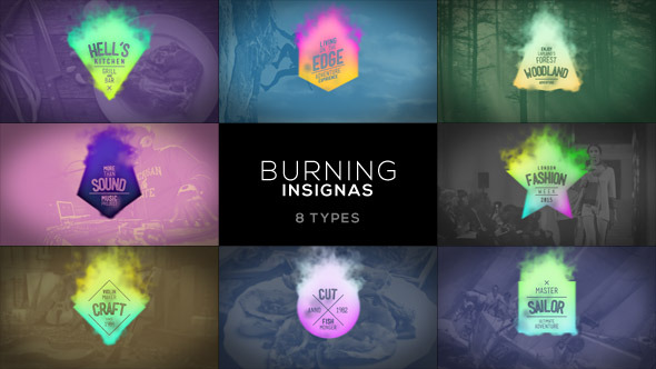 VideoHive Burning Insignias 8 Pack 8562991