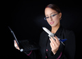 Woman With Model Airplane and Laptop - PhotoDune Item for Sale