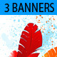 Three Banners with Colored Feathers - GraphicRiver Item for Sale