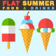 Flat Summer Food and Drinks Icons - GraphicRiver Item for Sale