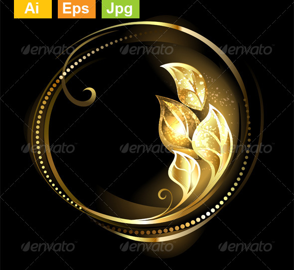 GraphicRiver Round Banner with Golden Leaves 8563302