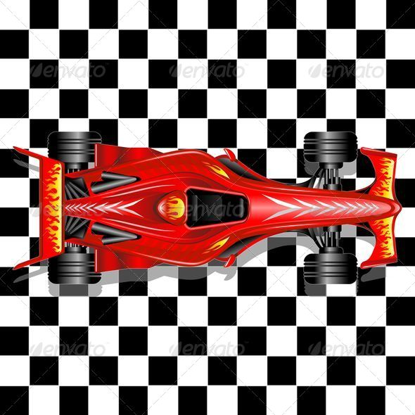 GraphicRiver Formula 1 Red Race Car on Checkered Background 8563619
