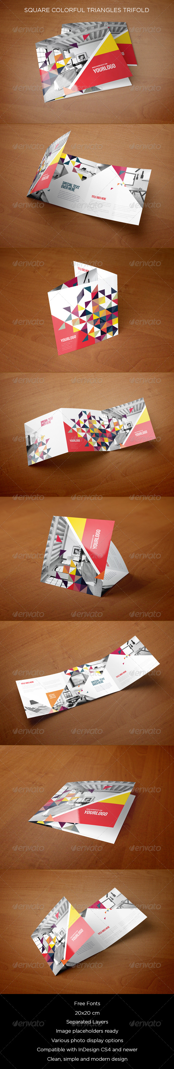 GraphicRiver Square Colorful Triangles Trifold 8563621