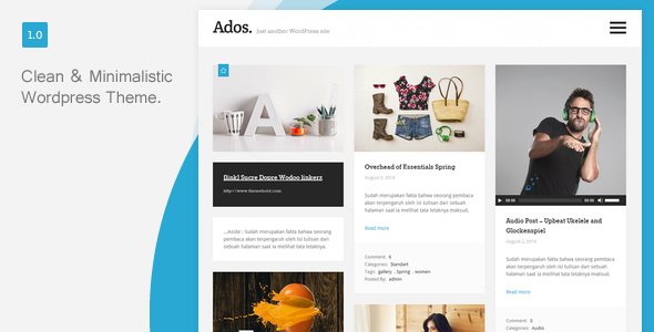 ThemeForest Ados Clean Responsive Blog Wordpress Theme 8543013