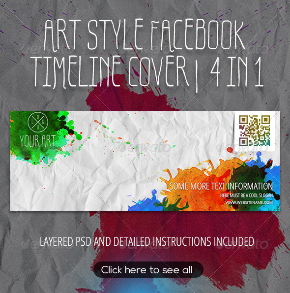 GraphicRiver Watercolor Art Style Facebook Timeline Template 8560892