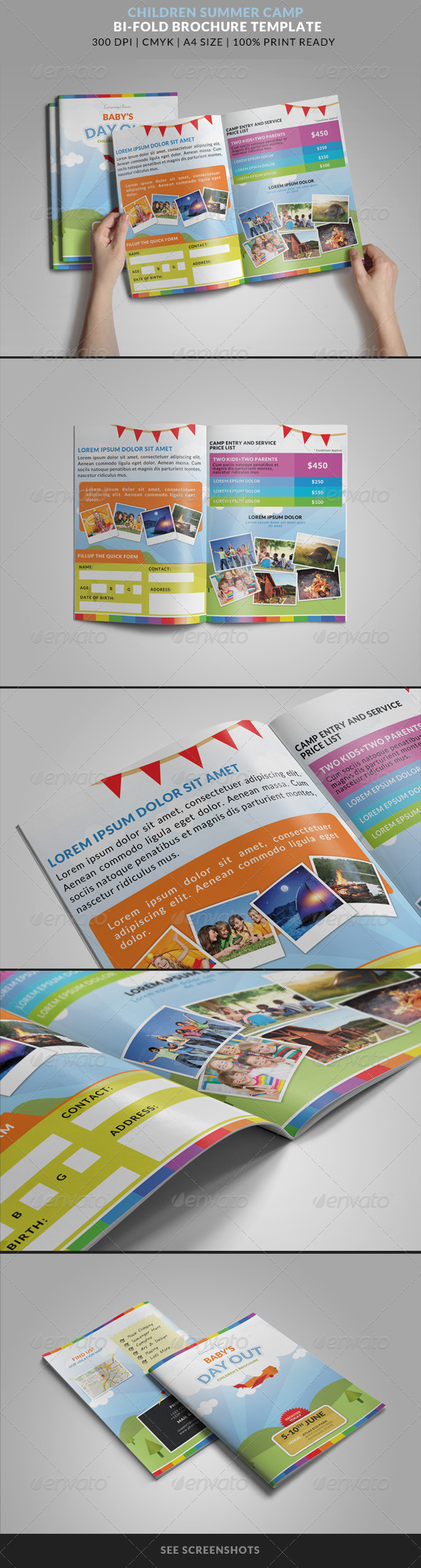 GraphicRiver Summer Camp Kids Bi-Fold Brochure 8563679