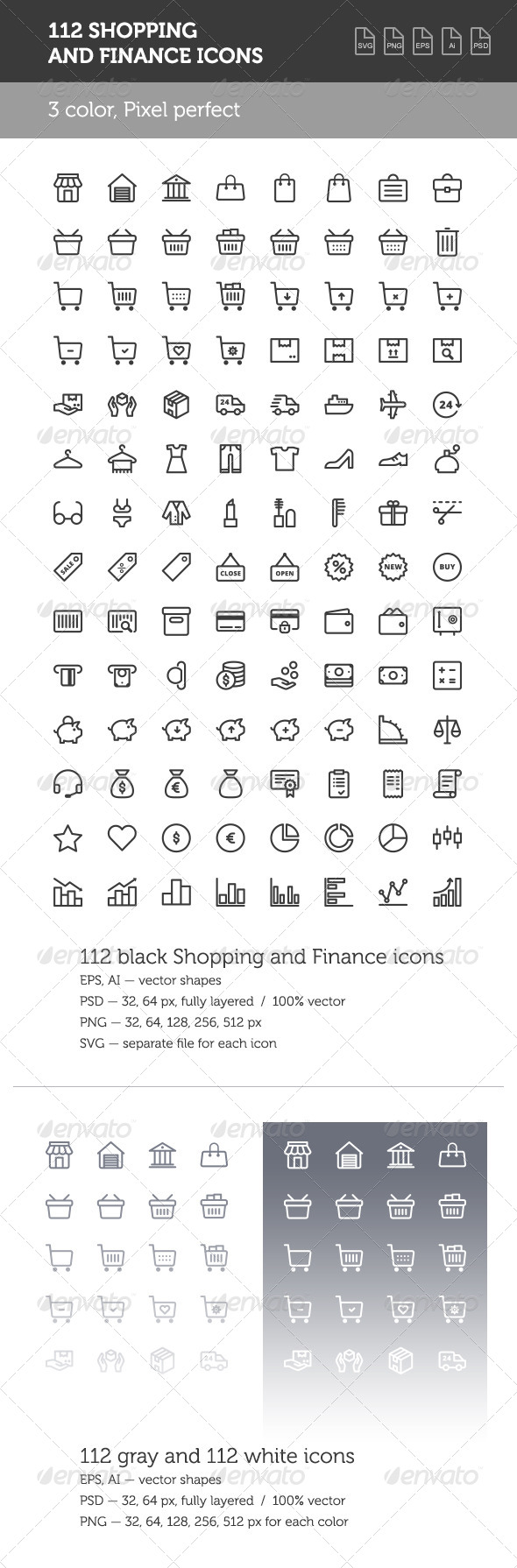 GraphicRiver 112 Shopping and Finance Icon Set 8564392