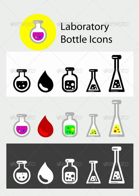 GraphicRiver Laboratory Bottle icon Set 8565098