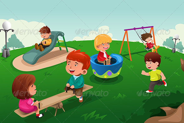 GraphicRiver Kids Playing in the Park 8565101