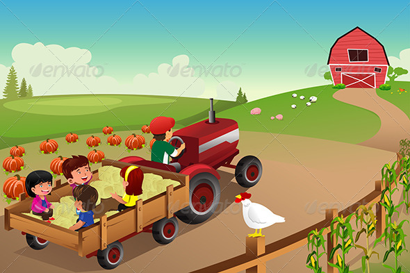 GraphicRiver Kids On A Hayride At The Farm 8565103