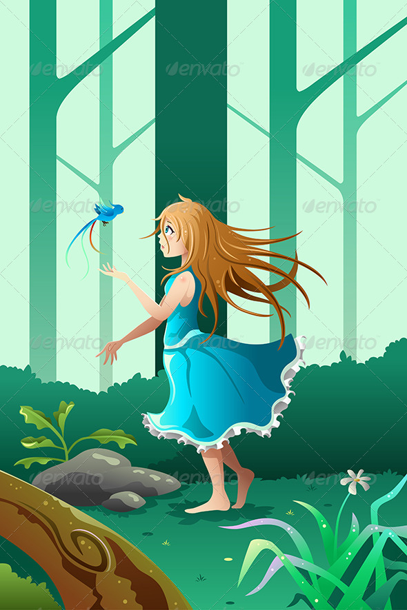 GraphicRiver Girl Playing With A Bird 8565106