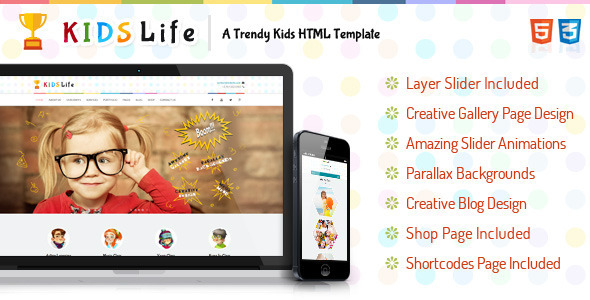 ThemeForest Kids Life A Trendy Kids HTML Template 8565477