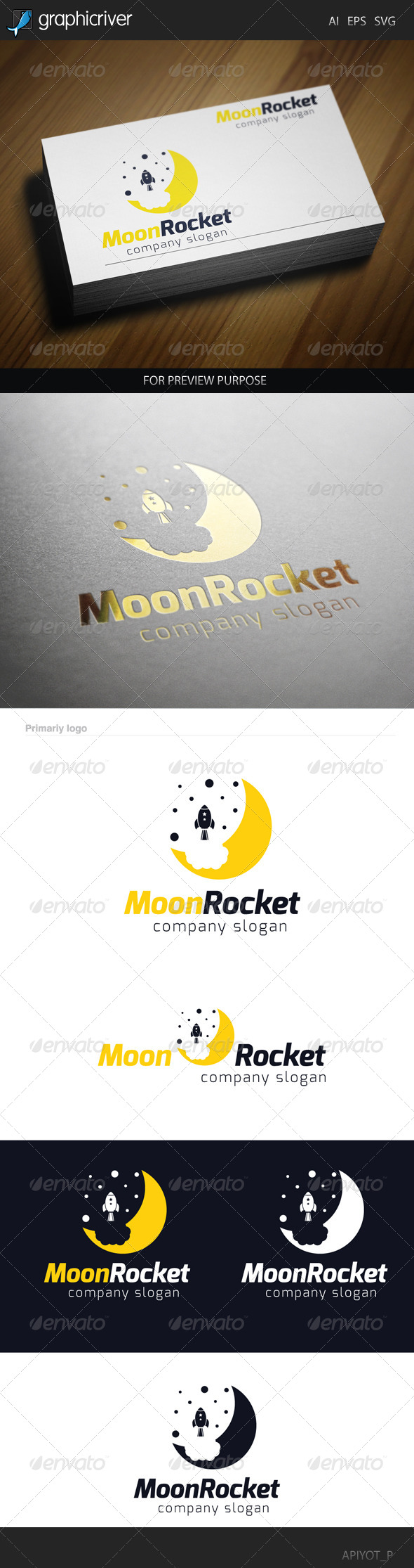 GraphicRiver Moon Rocket 2 Logo 8565505