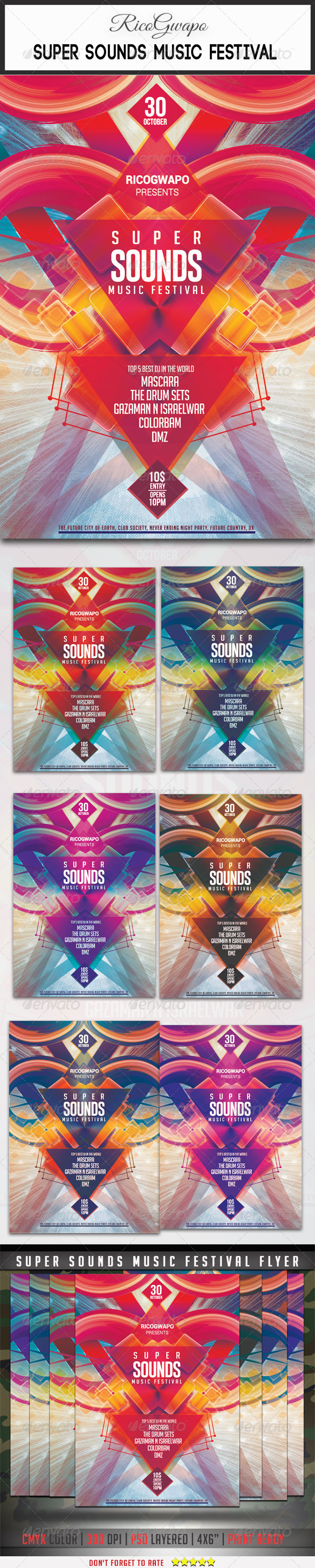 GraphicRiver Super Sounds Music Festival Flyer Template 8562614