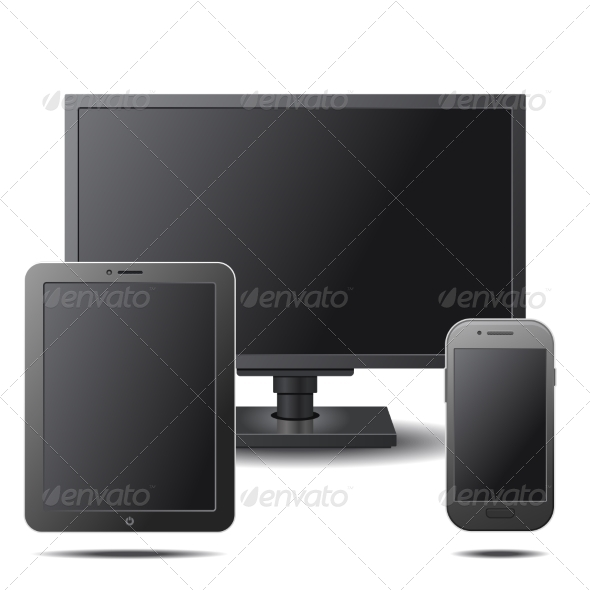 GraphicRiver Set of Electronic Devices with Black Blank Screens 8565630