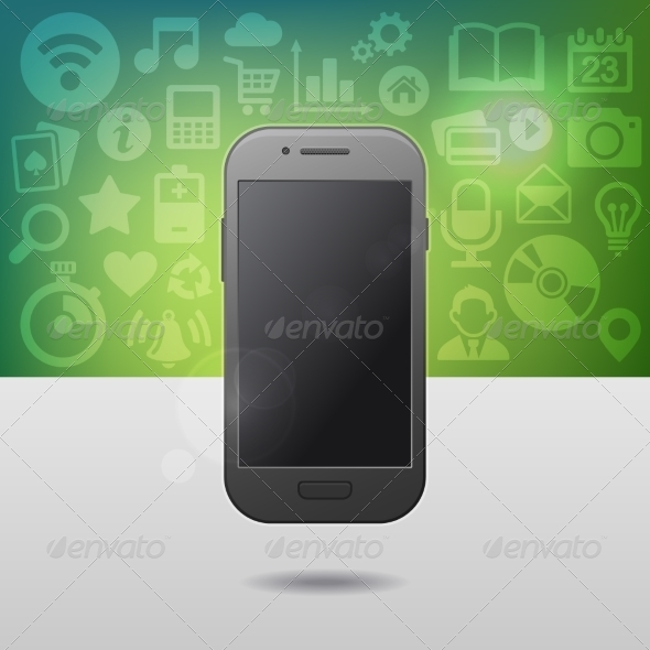 GraphicRiver Template with Touchscreen Mobile Phone Device 8565881