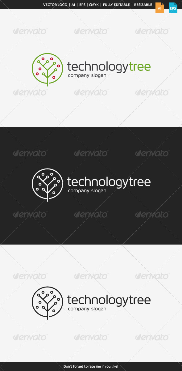 GraphicRiver Technology Tree Logo 8565882
