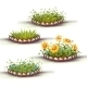 Vector Flowerbed with Grass and Flowers - GraphicRiver Item for Sale