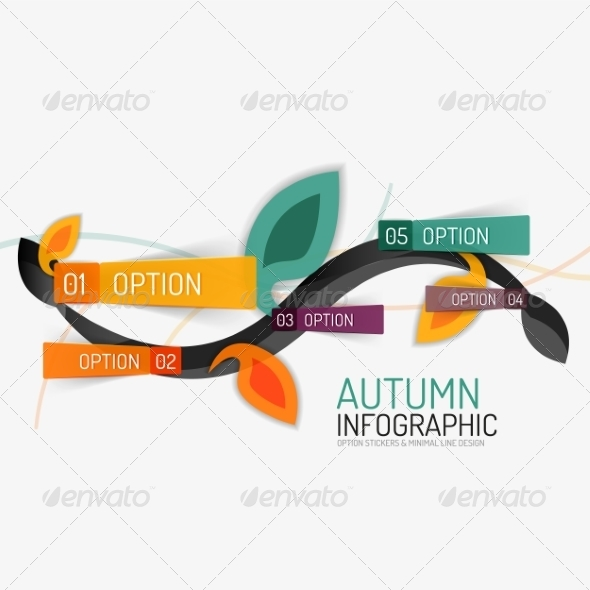 GraphicRiver Floral Swirl Autumn Infographic Report 8566273