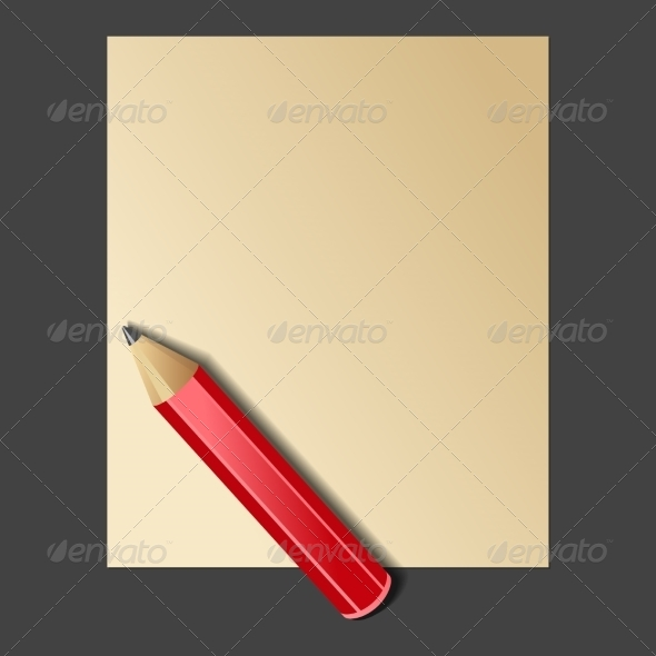 Paper and Red Pencil Vector