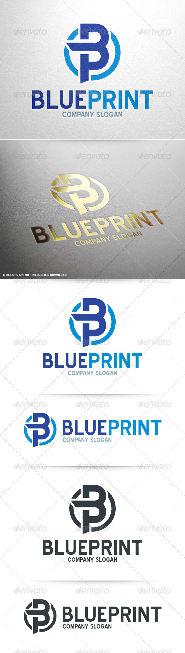GraphicRiver BluePrint Letter B & P Logo 8566637