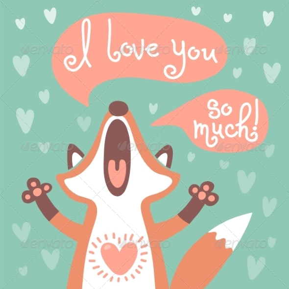 GraphicRiver Cute Fox Confesses his Love 8566658