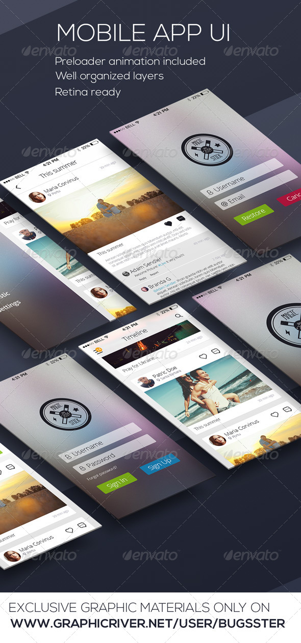 GraphicRiver Mobile Phone OS8 Style App UI Kit 8566688