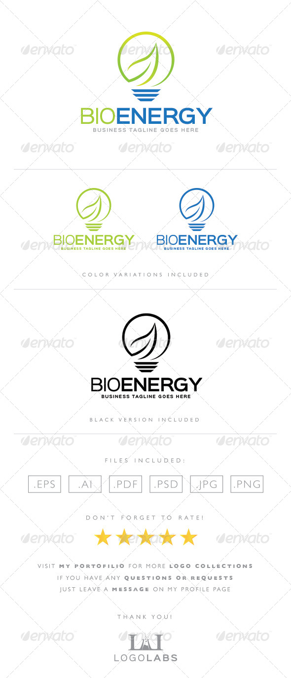 GraphicRiver Lamp and Leaf Logo 8567164