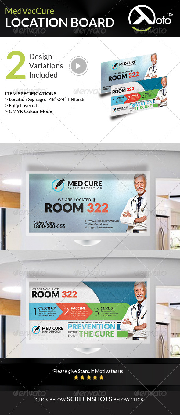 Med Vac Cure Health Care Location Board Signages
