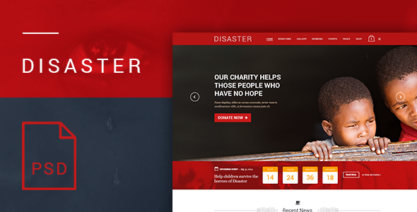 ThemeForest Disaster Charity and Nonprofit PSD Template 8567317