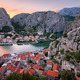 Aerial View on Omis Old Town and Cetina River Gorge, Dalmatia, C - PhotoDune Item for Sale