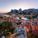 Aerial Panorama of Omis and Cetina River Gorge in the Evening, D - PhotoDune Item for Sale
