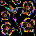 Hummingbird and Hibiscus Psychedelic Tattoo Pattern - PhotoDune Item for Sale