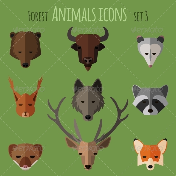 GraphicRiver Forest Animals Flat Icons Set 1 8567473