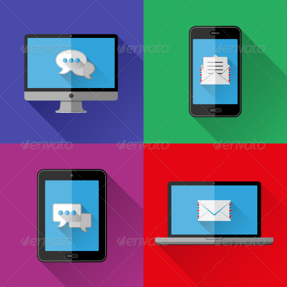 GraphicRiver Flat Icons PC Laptop Cell Phone and Tablet 8567835