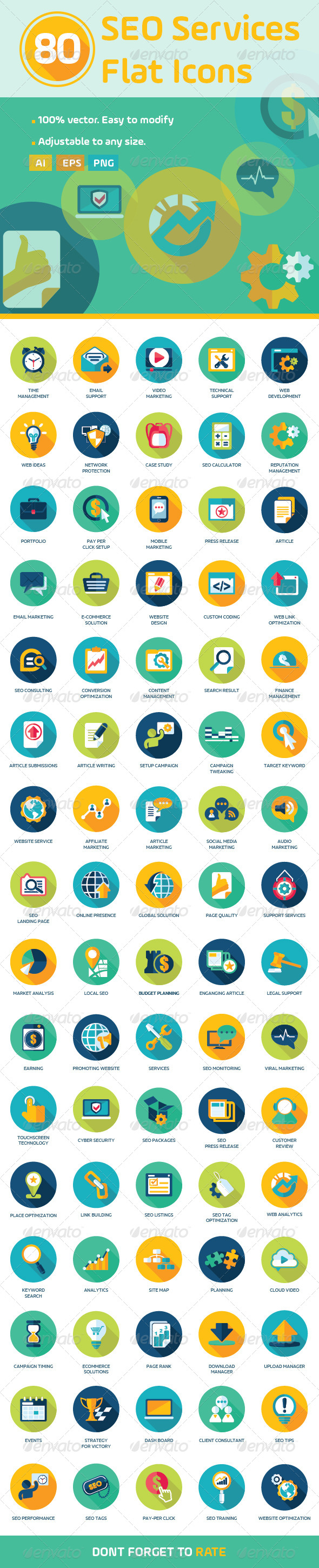 GraphicRiver 80 Flat SEO Services Icons 8567874