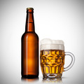 Beer in glass and bottle on white - PhotoDune Item for Sale