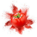 Tomato with red powder explosion isolated on white - PhotoDune Item for Sale