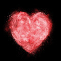 red heart made of white powder explosion isolated on black - PhotoDune Item for Sale