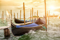Gondolas on sunset, Grand Canal in Venice - PhotoDune Item for Sale