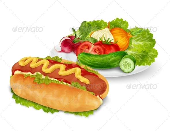 GraphicRiver Hot Dog with Vegetables 8568295