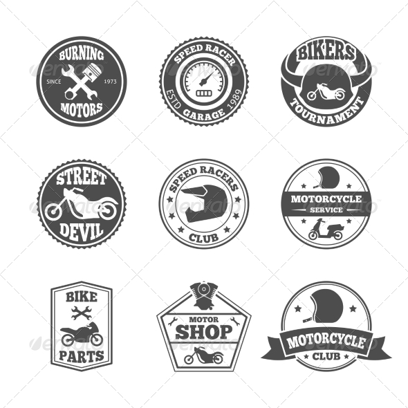 GraphicRiver Biker Label Set 8568308