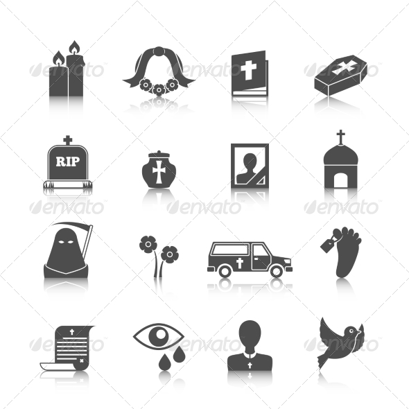 GraphicRiver Funeral Icons Set 8568312