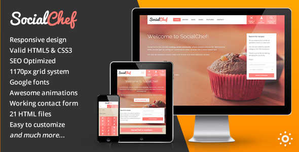 ThemeForest SocialChef Social Recipe HTML Template 8568727