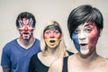 Surprised people with European flags on faces - PhotoDune Item for Sale